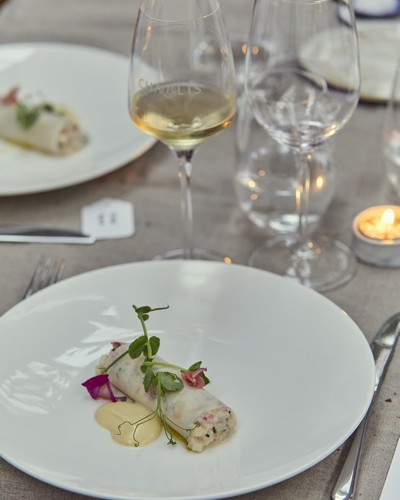 Lobster roll with turnip and wild flowers with Chablis Grand Cru Blanchot