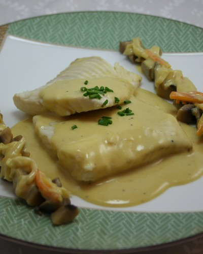 Turbot à la Normande with Chablis wineChablis/Bourgogne/Burgundy/French wine/