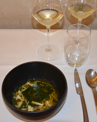 Noble fish broth with seaweed and tapioca with Chablis Premier Cru