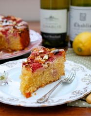 Lemon and pistachio polenta cake with gin-macerated strawberries [gluten-free] a